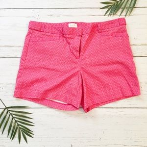 Pink and coral fan pattern cotton shorts